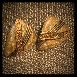 Monet Gold and Cream Enamel Earrings